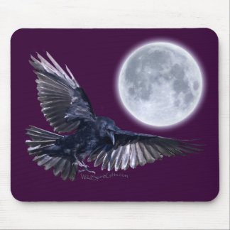 Flying Raven Landing beneath a Full Moon Mouse Pad