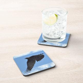Flying Raven Modern Art in Blue Beverage Coaster