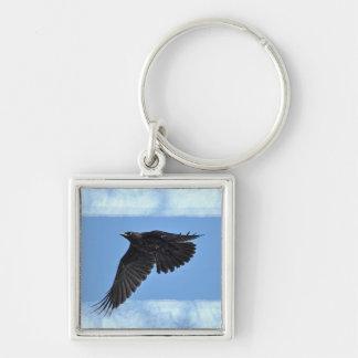 Flying Raven Modern Art in Blue Keychain