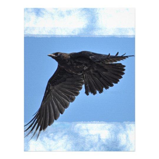 Flying Raven Modern Art in Blue Letterhead