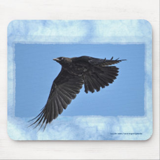 Flying Raven Modern Art in Blue Mouse Pad