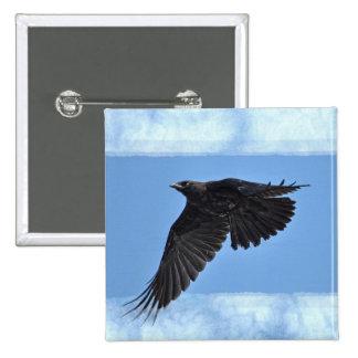 Flying Raven Modern Art in Blue Pinback Button
