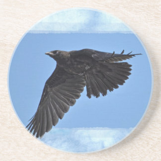 Flying Raven Modern Art in Blue Sandstone Coaster