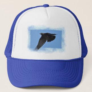 Flying Raven Modern Art in Blue Trucker Hat