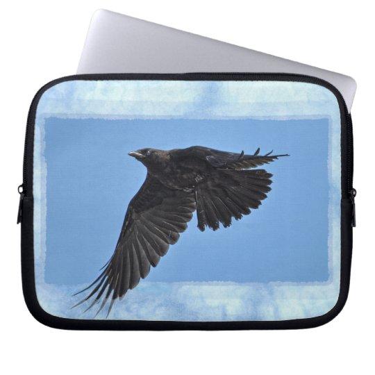 Flying Raven on Light Blue Modern Art Laptop Sleeve