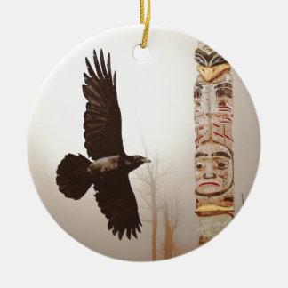 Flying Raven & Totem-Pole Fantasy Art Ceramic Ornament