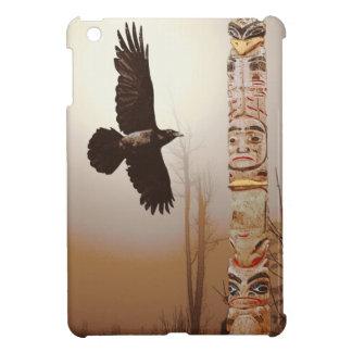 Flying Raven & Totem-Pole Fantasy Art Cover For The iPad Mini