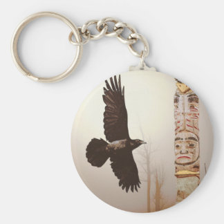Flying Raven & Totem-Pole Fantasy Art Keychain