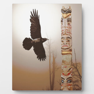 Flying Raven & Totem-Pole Fantasy Art Photo Plaques