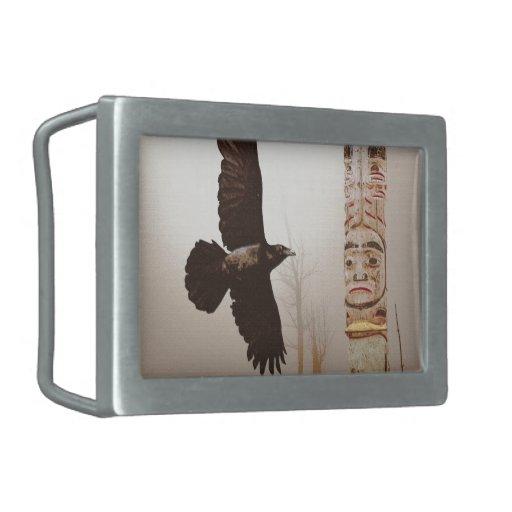 Flying Raven & Totem-Pole Fantasy Art Rectangular Belt Buckles