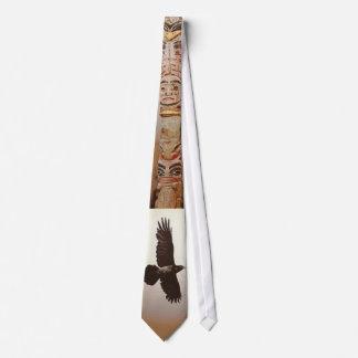 Flying Raven & Totem Pole Spiritual Haida Artform Neck Tie