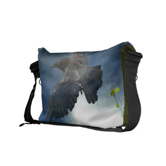 Flying Raven & Waterfall Nature Design Messenger Bag