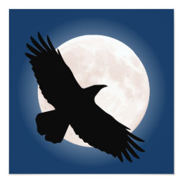 Flying raven with the moon behind it card