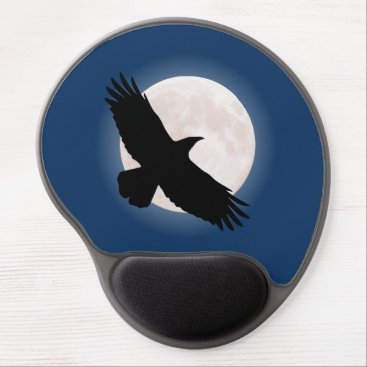 Flying raven with the moon behind it gel mouse pad