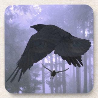 Flying Ravens, Forest & Eerie Eyes Beverage Coaster