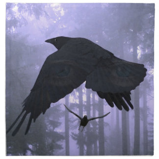 Flying Ravens, Forest & Eerie Eyes Cloth Napkin