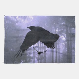 Flying Ravens, Forest & Eerie Eyes Hand Towel
