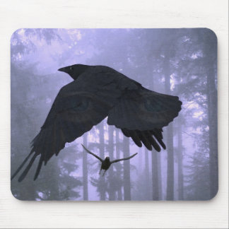 Flying Ravens, Forest & Eerie Eyes Mouse Pad