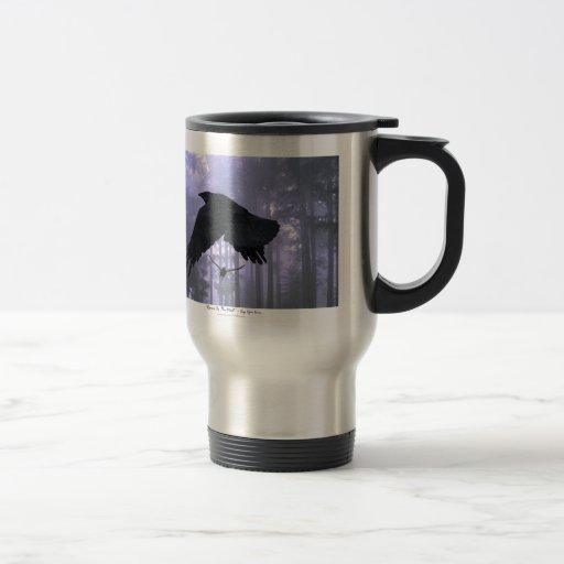 Flying Ravens, Forest & Eerie Eyes 15 Oz Stainless Steel Travel Mug