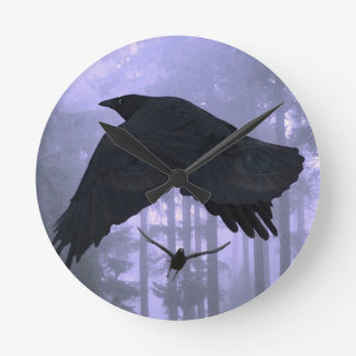 Flying Ravens, Forest & Eerie Eyes Round Clock