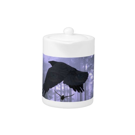 Flying Ravens, Forest & Eerie Eyes Teapot