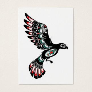 Flying Red and Black Haida Spirit Bird, white Business Card