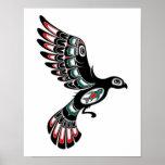 Flying Red and Black Haida Spirit Bird, white Posters