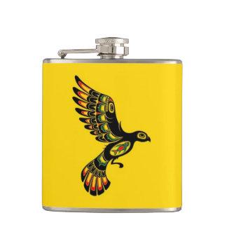 Flying Red and Black Haida Spirit Bird, yellow Hip Flask