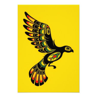 Flying Red and Black Haida Spirit Bird yellow Personalized Announcement