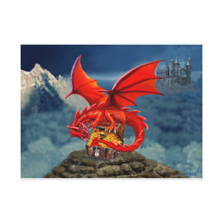 Flying Red Dragon's Treasure Chest Canvas Print