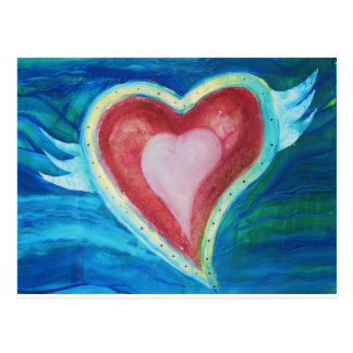 Flying Red Hearts with Wings Postcard