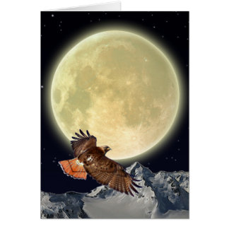 Flying Red-Tailed Hawk and Full Moon Card