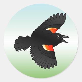 Flying Red-winged Blackbird Classic Round Sticker