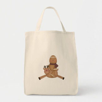 flying reindeer gingerbread man canvas bags