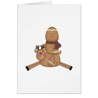 flying reindeer gingerbread man card