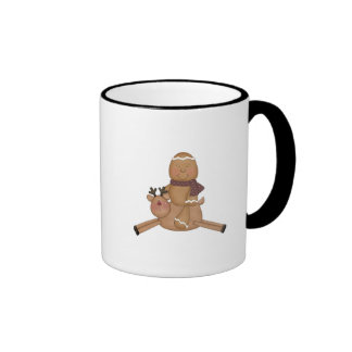 flying reindeer gingerbread man coffee mugs