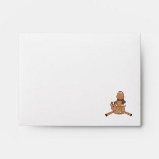 flying reindeer gingerbread man envelope