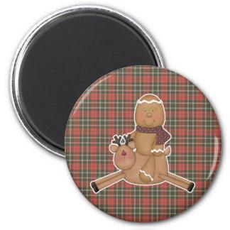 flying reindeer gingerbread man fridge magnet