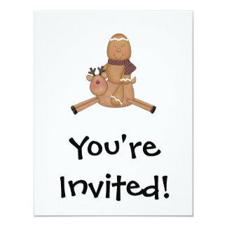 flying reindeer gingerbread man personalized invites