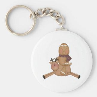 flying reindeer gingerbread man key chain