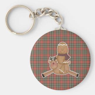 flying reindeer gingerbread man keychains