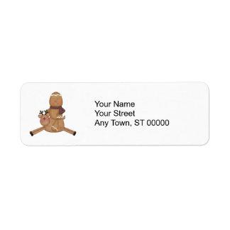 flying reindeer gingerbread man return address label