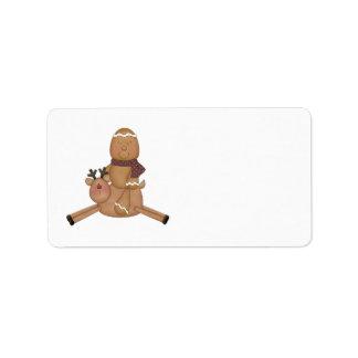 flying reindeer gingerbread man custom address label