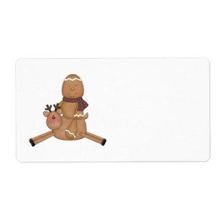 flying reindeer gingerbread man custom shipping labels