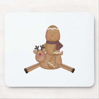 flying reindeer gingerbread man mouse pads