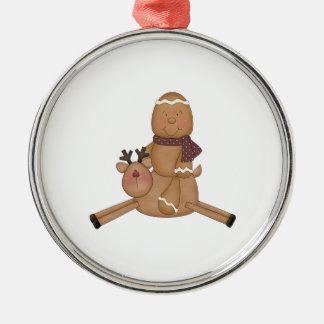 flying reindeer gingerbread man ornament
