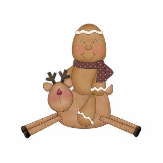 flying reindeer gingerbread man photo sculpture