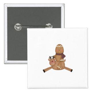 flying reindeer gingerbread man pin