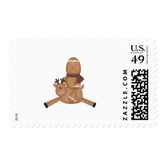 flying reindeer gingerbread man postage