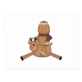 flying reindeer gingerbread man postcard